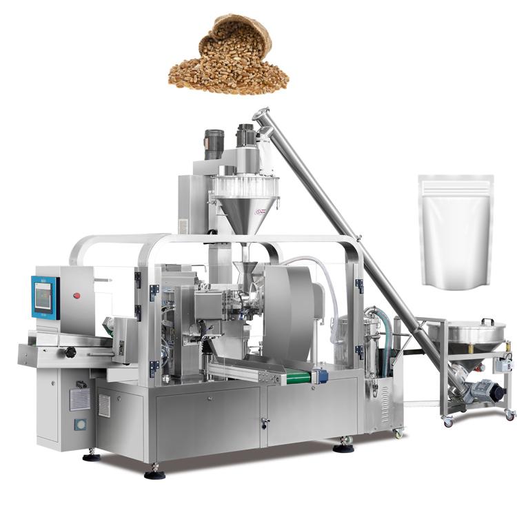 Máy đóng gói gạo dạng đứng lớn:  Máy đóng gói là giai đoạn hoàn tất trong khâu cuối cùng của việc đóng gói, nó giúp sản phẩm được bảo quản chắc và dễ di chuyển hơn. Máy đóng được rất nhiều kích cỡ khác nhau: 1kg, 3kg, 5kg, 10kg, 15kg, .... Sản phẩm được hàn ép chắc chắn, tránh việc bung miệng khi được đóng gói bằng tay truyền thống  Máy đóng gói gạo ngoài đóng gói gạo còn có thể đóng gói bột, các nguyên liệu làm từ hạt, các sản phẩm chất rắn,... các nguyên lý hoạt động và cách đóng gói đều giống nhau. Đôi lúc khác có khi là mẫu mã hay kích thước mà nhà sản xuất muốn thay đổi  Ưu điểm của máy đóng gói gạo: Có thể hoạt động trong nhiều giờ liền, liên tục 24H Không cần quá nhiều nhân công đứng coi máy vì hoàn toàn tự động vận hành Máy có thể cho ra sản phẩm tầm 400 túi/tiếng tùy vào cách vận hành máy của doanh nghiệp và trọng lượng đóng gói Máy được điều khiển bằng công nghệ tiên tiến với màn hình PLC, công tắc trực quan và dễ điều chỉnh Có nhiều kích thước khác nhau tùy vào sự điều chỉnh của doanh nghiệp Được nhập khẩu linh kiện từ nước ngoài: Đài Loan, Nhật Bản, Trung Quốc, ... Máy được được kiểm soát bởi máy tính điện tử nên cân trong quá trình sản xuất được nhanh chóng và chuẩn sát cao Thuận tiện cho doanh nghiệp vì thao tác vận hành dễ dàng Được sản xuất với các linh kiện inox 304 không gỉ để đảm bảo chất lượng sản phẩm Làm cho sản phẩm đẹp hơn trong mắt bạn bè quốc tế khi xuất khẩu ra nước ngoài