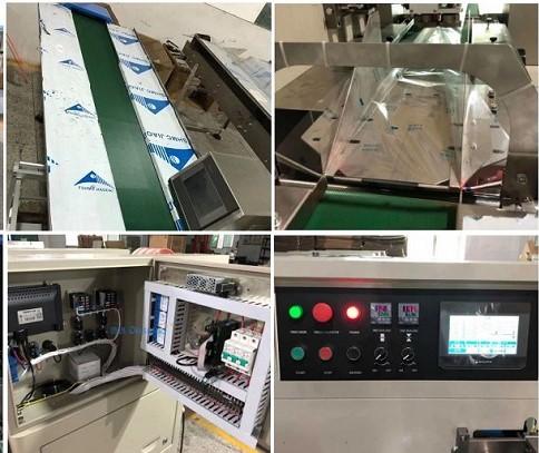Thông số kỹ thuật củamáy đóng gói bánh thổi khí Nito: Tốc độ đóng gói: 35 – 180 sản phẩm / phút. Kích thước túi: 80 – 240mm (dài), 30 – 130mm (rộng), 5 – 45 (dài). Độ rộng của màng film: 80 – 300mm. Chất liệu màng đóng gói: OPP, CPP, PT, PE, KPT, CPP, ALU – FOIL. Công suất thiết bị gia nhiệt: 2.4kW. Công suất động cơ: 0.2 – 0.4kW. Tổng công suất máy: 3kW. Kích thước máy: 4000*950*1600mm. Trọng lượng: 600kg. Các tính năng ưu tú của máy dạng nằm: Thông qua màn hình cảm ứng HMI giao diện người – máy, người dùng dễ dàng vận hành máy, cài đặt thông số kỹ thuật nhanh chóng. Hệ điều khiển PLC hiện đại, tân tiến giúp máy vận hành ổn định nhưng vẫn đảm bảo năng suất. Máy đóng gói nằm ngangđược trang bị mắt thần (cảm biến quang điện) độ nhạy cao, cực kỳ chính xác khi nhận diện bao bì hay nguyên vật liệu. Đồng thời, máy sẽ tự động ngừng khi hết bao bì, nguyên liệu hay có sự cố xảy ra thông qua hệ thống báo lỗi, đảm bảo vận hành an toàn. Thiết kế động cơ bước (Stepper), chiều dài túi có thể điều chỉnh, cắt sao cho phù hợp chỉ với 1 động tác, giúp tiết kiệm thời gian và màng film. Thiết bị điều khiển nhiệt độ PID hoạt động độc lập, phù hợp cho mọi loại chất liệu bao bì. Cấu trúc máy đơn giản, gọn nhẹ, dễ dàng di chuyển, thuận tiện cho việc vệ sinh cũng như bảo trì bảo hành về sau. Thânmáy đóng gói bim bim bánh mỳ có thổi khíđặc biệt là các bộ phận tiếp xúc trực tiếp nguyên liệu đều được làm từ inox 304 cao cấp, không hoen rỉ, không thôi nhiễm chất độc hại, đảm bảo tiêu chuẩn chất lượng vệ sinh an toàn thực phẩm. Thành phẩm sau khi đóng gói đẹp mắt, múi hàn kín chắc chắn, lượng khí được bơm vào vừa đủ, hợp lý. Có thể bổ sung chức năng in date sản phẩm nếu quý khách hàng yêu cầu.