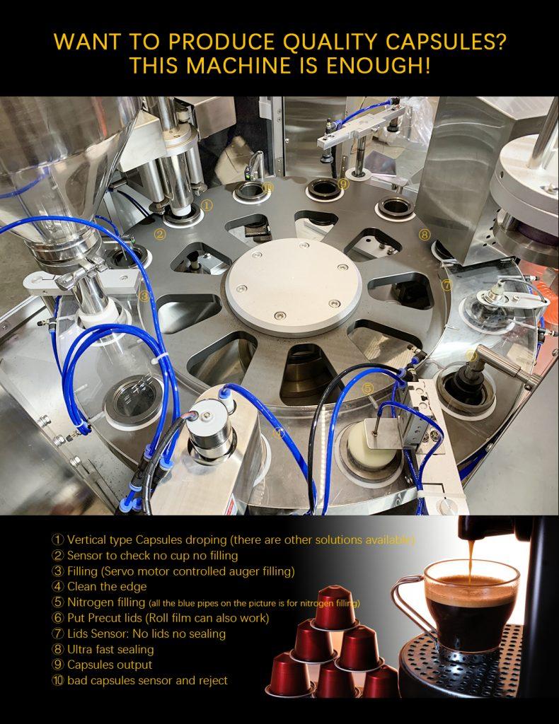 áy đóng gói viên nén cà phê: Đối với một số cơ sơ hay doanh nghiệp có lẽ vẫn chưa theo được xu hướng đế sử dụng máy đóng gói viên nén cà phê này để sản xuất vì cách đóng gói mới lạ và sản phẩm sau khi được đóng gói mẫu mã cũng khác với các loại có trên thị trường. Máy đóng gói viên nén cà phê ra đời làm cho thị trường cà phê nhộn nhịp hơn, lượng tiêu thụ cũng được nâng cao hơn. Nhưng, việc mua và sử dụng thì chưa được thúc đẩy để làm thị trường cà phê sôi nổi hơn nữa. Do đó, chúng tôi có một số thông tin cơ bản và vài điều cần lưu ý khi bạn muốn tìm hiểu về nó Nếu bạn không rành về cà phê hay ít dùng nó thì việc sử dụng cà phê viên nén cũng sẽ không cảm thấy khác biệt bao nhiêu. Còn đối với người sử dụng cà phê thường xuyên thì hương vị được giữ nguyên là điều cần thiết. Cho nên cà phê viên nén ra đời đã đáp ứng được việc giữ hương vị đúng chất rang xay và còn có thể pha chúng một cách nhanh nhất có thể Các bước để sản xuất cà phê viên nén cũng đơn giản, gồm các bước: Cà phê sau khi được rang khô đạt chuẩn thì đem chúng đi xay thành bột với độ mịn vừa phải không quá to hoặc quá nhuyễn làm cho cà phê không phát huy được hương vị vốn có của nó Sau đó, bột cà phê sẽ được chuyển sang máy áp suất để nén lại, kích vỡ các tế bào và đóng gói ở các dạng nén kích thước khác mà khác hàng muốn đưa ra thị trường Chúng ta có thể đóng gói cà phê viên nén trong các khuôn mẫu có sẵn trên thị trường, hộp nhựa và việc đóng gói ngoài cùng làm đóng seal bằng vỏ nhôm vì có thể sử dụng trực tiếp với nước nóng Việc sử dụng cà phê viên nén cũng đơn giản, chỉ cần điều chỉnh máy pha cà phê ở áp suất vừa phải rồi bấm nút ta sẽ có một ly cà phê đúng chuẩn và hương vị đạt đúng vị. Mà không mất quá nhiều thời gian pha như cà phê truyền thống Nguyên lý hoạt động của máy đóng gói cà phê viên nén: Máy đưa cốc vào thiết bị -> Sục khí nito -> Rơi giấy lọc -> Nén giấy lọc -> Chiết -> Sục khí Nito -> Rút màng -> Sục khí nito -> Hàn miệng cốc -> Thành phẩm
